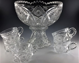 EAPG Punchbowl Set - Cambridge Glass Company No. 2351 (OMN) - Bowl, Base, and Five Cups - Early American Pattern Glass - Circa 1914