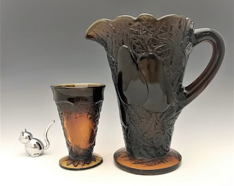 Five Piece Indiana Glass Sweet Pear Water Set in Burnt Honey - Tiara Exclusives - Pitcher and 4 Goblets