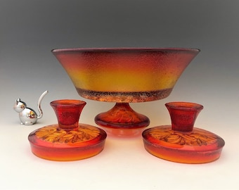 L.E. Smith Glass Sandscroll Console Bowl Set - Amberina/Flame Bowl and Candlesticks - MCM Decor - Mid Century Glass