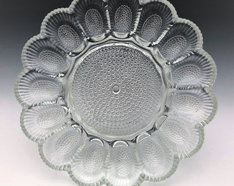 Indiana Glass Hobnail Deviled Egg Dish and Relish Plate