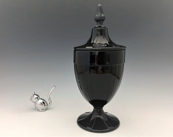 Fenton Black Glass Covered Candy Jar - Hard to Find