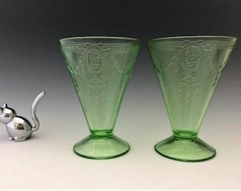 Set of 2 Rose Cameo Green Depression Glass Tumblers - Uranium Glass Tumblers