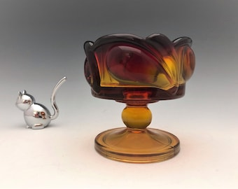 Indiana Glass Leaf (#1009) Pattern Candle Holder in Sunset - Tiara Exclusives.