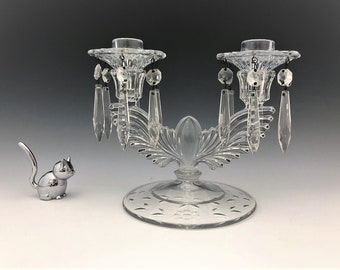 New Martinsville No. 18 Crystal Eagle Two Light Candlestick - Radiance Pattern - Elegant Glass Candlestick Holder