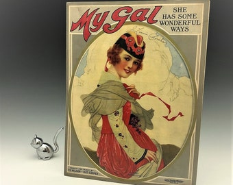 Vintage Piano Sheet Music - Gustav Michelson Artist - Roaring 20's Art - Art Deco Ads - Suitable for Framing - My Gal