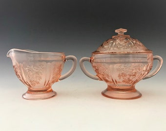 Federal Glass - Sharon or Cabbage Rose Pattern - Breakfast Set - Creamer and Covered Sugar Bowl