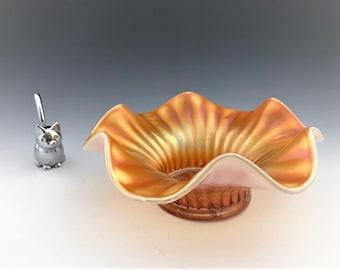 Dugan Glass Carnival Bowl - Stippled Flower Pattern - Peach Opal - Broadly Ruffled Bowl - Crimped Iridescent Bowl