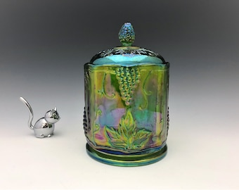 Indiana Harvest Iridescent Green Glass Jar - Green Carnival Glass Canister