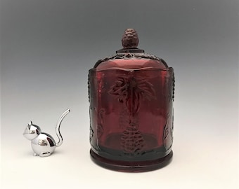 Indiana Harvest Glass Jar - Red Decoration Glass Canister - Hard to Find