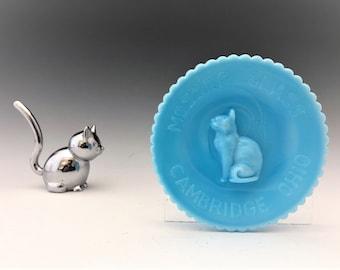 Vintage Mosser Blue Milk Glass Cat Cup Plate - Hard to Find