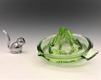 Uranium Glass Reamer - Green Depression Glass Juicer - Hazel Atlas