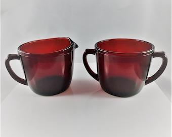 Ruby Red Breakfast Set - Creamer and Sugar Bowl - Anchor Hocking Royal Ruby