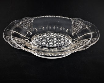 EAPG Bowl or Low Compote - Finecut Shield and Inverted Thumbprint - Victorian Era Glass - Antique Glass Serving Bowl - Holiday Table