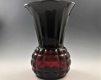 Vintage Hocking Glass Royal Ruby Depression Glass Vase - Pineapple Vase - Crimped Flared Vase