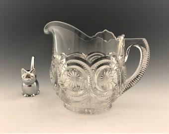 Beautiful EAPG Creamer - U.S. Glass Company - No. 15092 (OMN) - AKA Star In Bull's Eye - Circa 1905 - Early American Pattern Glass