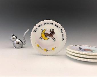 Vintage Mosser Nursery Rhyme Cup Plates - Set of 4 Hand Painted Plates