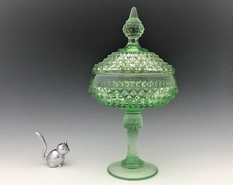 Indiana Glass Diamond Point Tall Covered Candy in Pastel Green