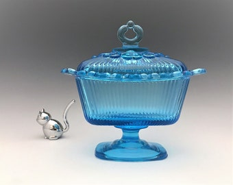 Indiana Glass Lace Edge Candy Box in Horizon Blue - Vintage Covered Candy