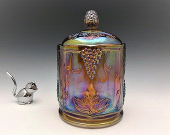 Indiana Harvest Iridescent Amber Glass Jar - Amber Carnival Glass Canister