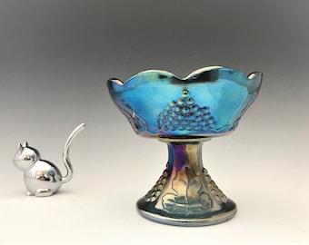 Indiana Harvest Iridescent Blue Glass Candlestick Holder - Blue Carnival Glass