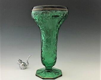 McKee Rock Crystal Green Vase - Elegant Entertaining - 11 Inch Vase