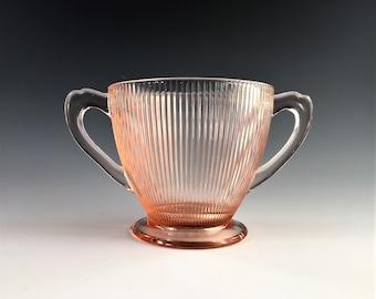 Pink Depression Glass Open Sugar Bowl - Jeannette Homespun Pink Pattern - AKA Fine Rib