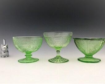 Uranium Glass Sherbet Variety Pack - Hocking Princess - Jeannette Cherry Blossom - Hazel Atlas Florentine - Glowing Green Depression Glass