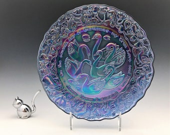 Imperial Glass Limited Edition Christmas Plate - Seven Swans A-Swimming - Purple Carnival Glass - New In Box