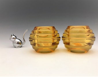 Crown Crystal Melon Rib Candle Holders - Amber/Yellow Glass