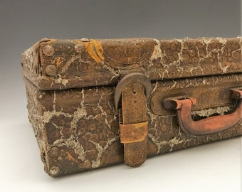Vintage Faux-Alligator Skin Travel Case - Old Luggage - Photo Prop or Accent Piece