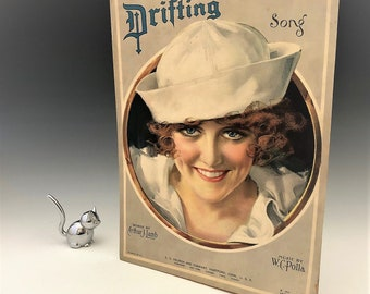 Vintage Piano Sheet Music - Drifting Song - Sexy Sailor Pin Up Girl - Roaring 20's Art - Art Deco Ads - Suitable for Framing