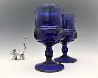 Set of 2 Indiana Glass King's Crown Cobalt Blue Goblets - Vintage Blue Glasses