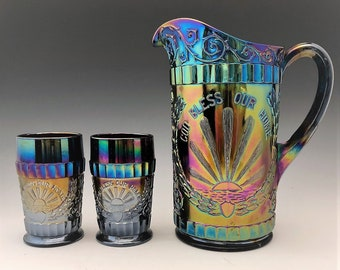 L.G. Wright God and Home Water Set - Dark Carnival Glass - Made by Mosser Glass - Pitcher and 6 Tumblers