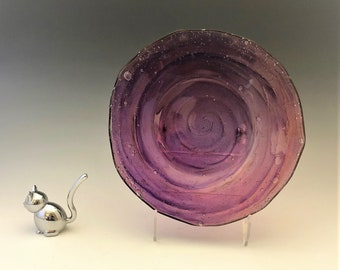 Consolidated Glass Company - Catalonian Pattern - Old Spanish - Amethyst Washed Salad Plate - Purple Glass