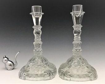 Indiana Glass Candlesticks - Set of Two Elegant Glass Candlestick Holders - Depression Era Glass