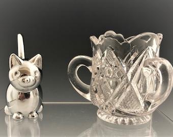 EAPG Three-Handled Toothpick Holder - U.S. Glass Company - No. 15055 Minnesota Pattern - AKA Muchness - Early American Pattern Glass - 1898