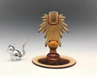 New Martinsville No. 4453 Teardrop Candlestick - Elegant Amber Glass Candlestick Holder