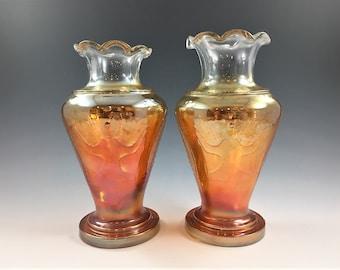 Set of Two Indian Carnival Glass Goa Vases - Iridescent Vases - Marigold - Tribal Vase - Jain Glass Works