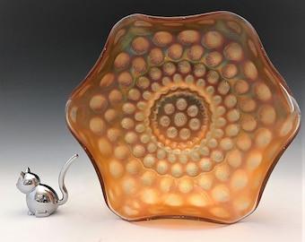 Fenton Coin Dot Pattern - Classic Carnival Glass Bowl - Ruffled Edge Bowl