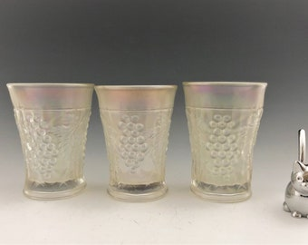 Northwood Grape Arbor  Carnival Glass Tumblers - Set of Three - Hard to Find Vintage Carnival Glass Tumblers - White Iridescent Glass