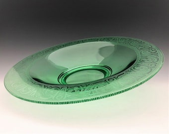 Hard to Find McKee Glass Etched Console Bowl - Uranium Glass Bowl - Glowing Green Glass