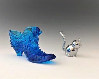 Fenton Royal Blue Glass Slipper - Hobnail Cat Head Shoe
