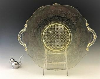 Lancaster Glass Landrum Pattern - Handled Plate (765/4) - Topaz Depression Era Elegant Glass - Hard to Find