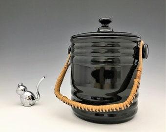 L.E. Smith No. 4 Cookie Jar With Original Wicker Handle - Depression Era Black Glass - Hard to Find