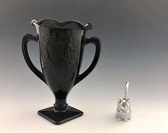 Vintage LE Smith No. 433 Black Amethyst Trophy Vase - Dancing Nymph Girls  - Loving Cup