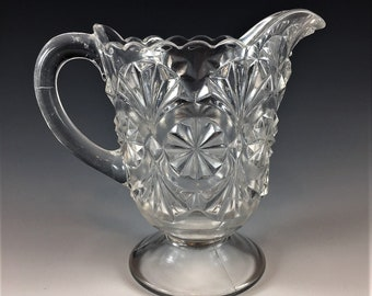 EAPG Creamer - U.S. Glass Company No. 15043 (OMN) - Feather Duster - Huckle - Rosette Medallion - Early American Pattern Glass - Circa 1895
