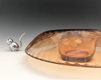 Fostoria #2545 Rolled Edge Console Bowl Vintage Amber Glass Centerpiece Bowl - Elegant Glass of the Depression Era
