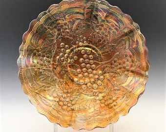 Vintage Carnival Low Ruffled Bowl - Imperial Glass - Imperial Grape Pattern - Marigold Bowl