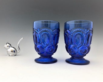 Weishar Moon and Star Set of Two Cobalt Blue 7 Ounce Juice Glasses - Limited Production Footed Tumblers