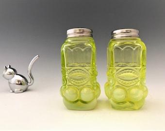 Mosser Eye Winker Vaseline Glass Opalescent Salt and Pepper Shakers